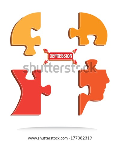 Depression concept design with puzzle shaped head. - stock photo