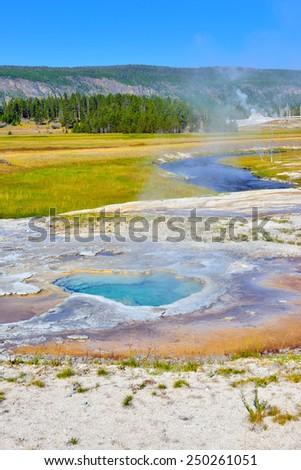 Depression Geyser in Upper Geyser basin of Yellowstone National Park, Wyoming - stock photo