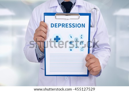 DEPRESSION Portrait of a doctor writing a prescription