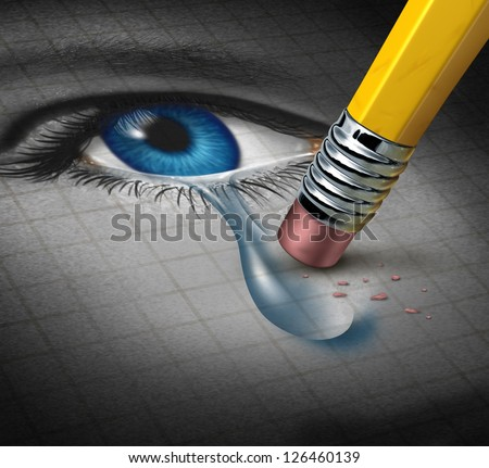 Depression Relief and conquering mental adversity with a pencil eraser removing a tear drop from a close up of a human face and eye as a concept of emotional support and therapy. - stock photo