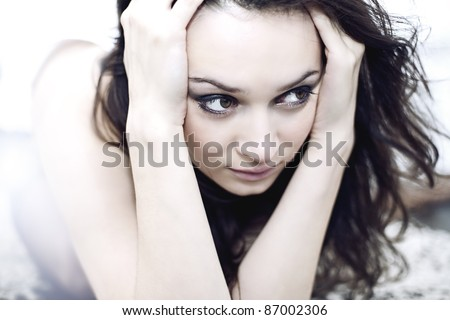 depression teen girl cried lonely - stock photo