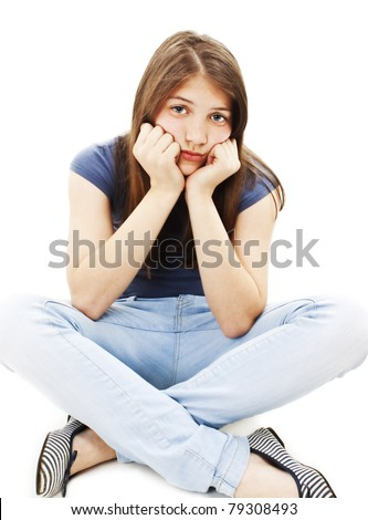 Depression teen girl cried lonely isolated on white background - stock photo