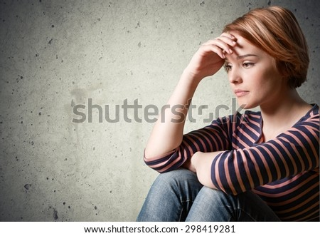 Depression, Teenager, Sadness. - stock photo