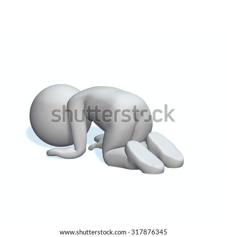 depressiv - 3D People isolated - stock photo