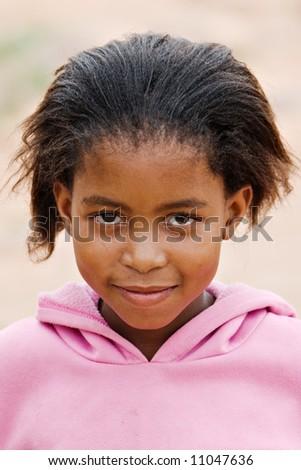 Deprived African children, village near Kalahari desert, people diversity series - stock photo