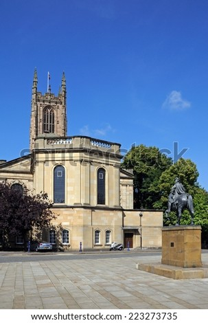 DERBY, UNITED KINGDOM - JULY 17, 2014 - The Cathedral of All Saints with a statue of Bonnie Prince Charlie in the foreground, Derby, Derbyshire, England, UK, Western Europe, July 17, 2014. - stock photo