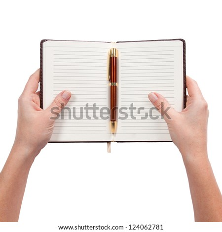 Derdat notebook in hand, isolated white background - stock photo