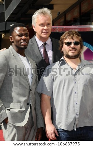 Derek Luke with Tim Robbins and Jack Black   at the Hollywood Walk of Fame Ceremony Honoring Tim Robbins. Hollywood Boulevard, Hollywood, CA. 10-10-08