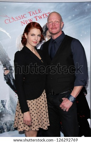"Derek Mears and guest at the ""Hansel & Gretel Witch Hunters"" Los Angeles Premiere, Chinese Theater, Hollywood, CA 01-24-13 - stock photo"