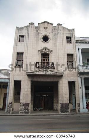 """Derelict Art Deco cinema in Havana, """"Cuba"""" - stock photo"""