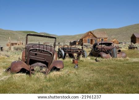 Derelict automobiles at Bodie California - stock photo