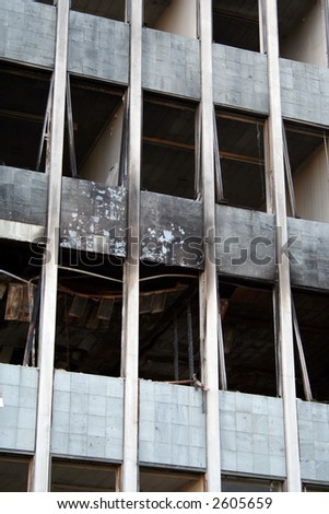 Derelict building scheduled foe demolition, previously ravaged by fire - stock photo