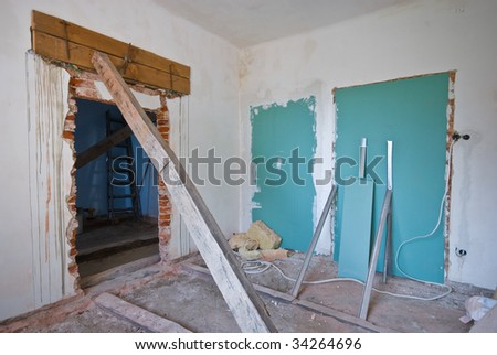 Derelict interior to be redecorated - stock photo