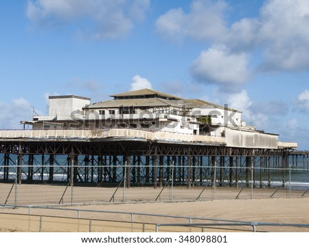 Derelict pier in Colwyn Bay Wales UK