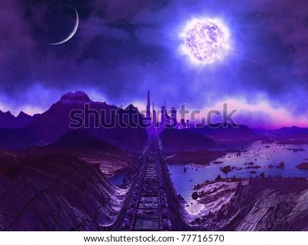 Derelict Railway Track to Alien City Ruins - stock photo