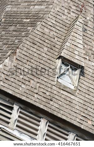derelict wooden slate belfry tower detail - stock photo
