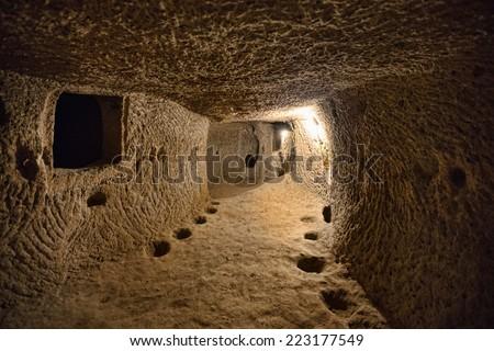 Derinkuyu cave city in Cappadocia Turkey  - stock photo