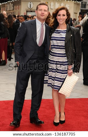 Dermot O'Leary and wife Dee Koppang arriving for the Iron Man 3 Premiere, Odeon Leicester Square, London. 18/04/2013 Picture by: Steve Vas