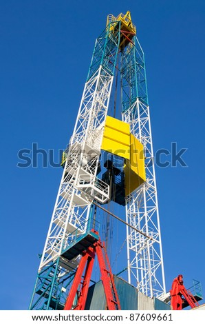 Derrick. Oil well drilling. - stock photo