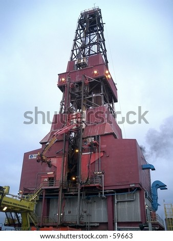 Derrick or Mast on oil rig in the North Sea