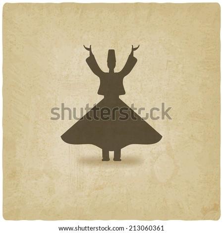 dervish dancer old background -  illustration - stock photo