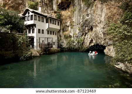 Dervish house in Blagaj Buna, near to Mostar in Bosnia and Herzegovina - stock photo