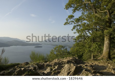 Derwent Water and Keswick from Friars Crag - stock photo