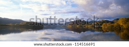 Derwent water in autumn colours in a panoramic format