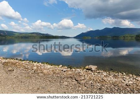 Derwent Water Lake District National Park Cumbria England uk near Keswick  - stock photo