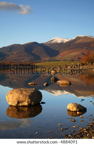 Derwent water Lake with mountain reflections - stock photo