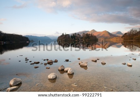 Derwent Waterand and Skiddaw mountain in background, Lake District National Park, Cumbria, England. - stock photo