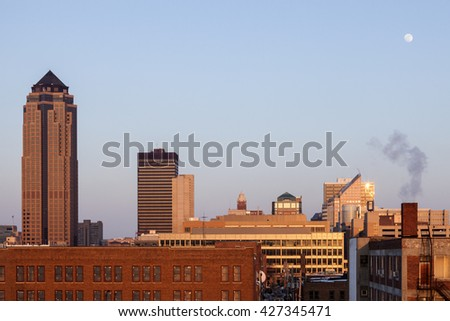 Des Moines architecture at sunset. Des Moines, Iowa, USA. - stock photo