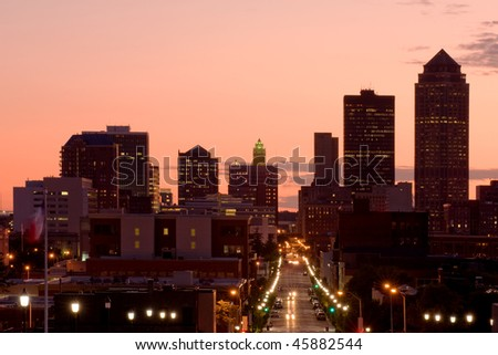 Des Moines, Iowa - center of insurance industry in US - stock photo