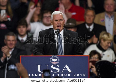 Des Moines Iowa, USA, 8th December, 2016 Vice President Elect Mike Pence at the Victory rally in the Hy-Vee Hall to address the crowd that filled the hall to see him and President Elect Donald Trump