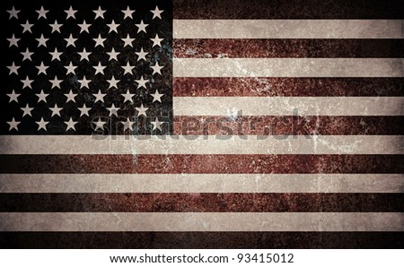 Desaturated grunge flag of USA. Horizontal composition.