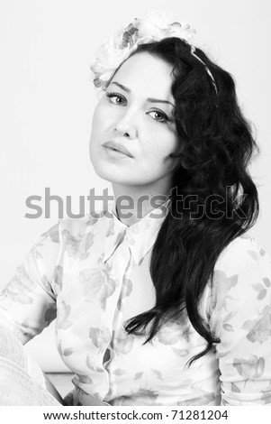 desaturated portrait of beauty woman - stock photo