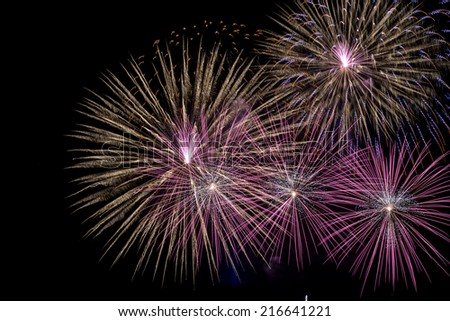 Description:  Holiday fireworks display from Hawaii. Title:  Fireworks Fantastic. - stock photo