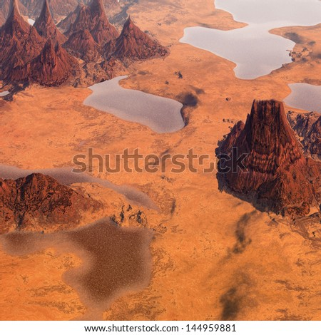 desert and mountains backgrounds - stock photo