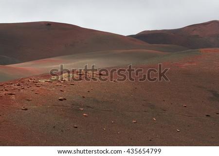 Desert arid stone volcanic landscape in Lanzarote, Canary Islands  - stock photo
