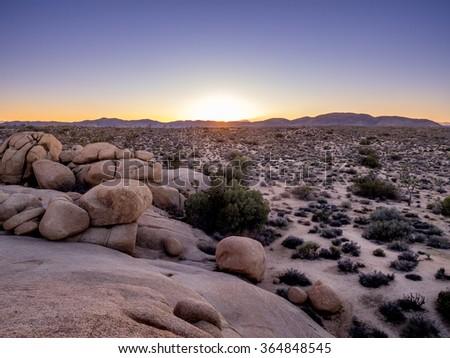 Desert as the sun dips below horizon in Joshua Tree National Park, California, USA, where the Mojave and Colorado desert ecosystems meet. - stock photo