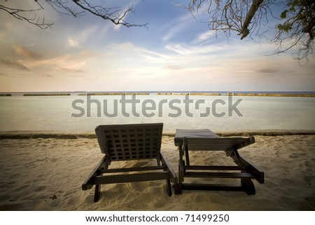 desert beach at sunset - stock photo