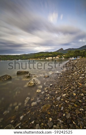 desert beach at the end of summer - stock photo