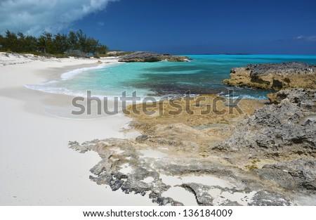 Desert beach of Little Exuma, Bahamas - stock photo