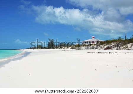 Desert beach of Little Exuma, Bahamas - stock photo