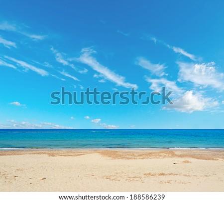 desert beach under a cloudy sky - stock photo