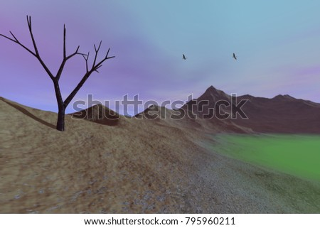 Desert, 3D rendering, a rocky landscape, dry mountain, a black tree and birds in the blue sky.