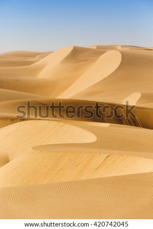 Desert dunes background. Increase in the areas of deserts.