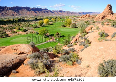 Desert Golf Course in Moab - stock photo