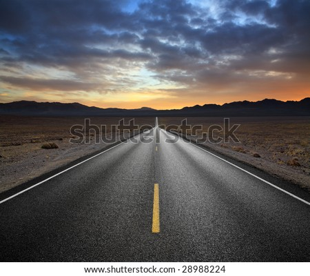 Desert Highway And Mountains At Sunset, Death Valley National Park, California - stock photo