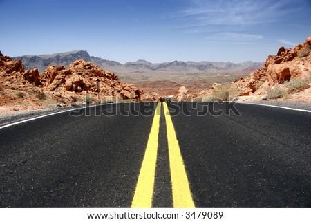 Desert Highway (horizontal) - stock photo